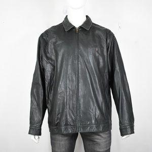 Ralph Lauren polo leather jacket XL black mens